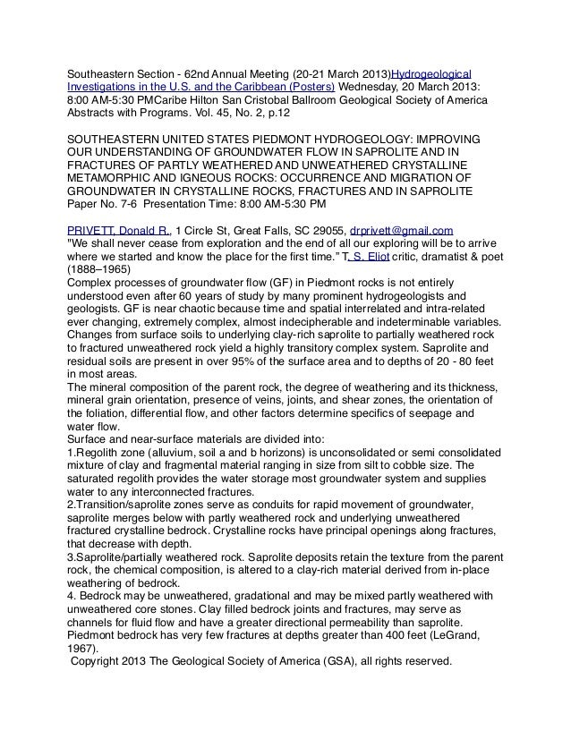 Southeastern Section - 62nd Annual Meeting (20-21 March 2013)Hydrogeological Investigations in the U.S. and the Caribbean ...