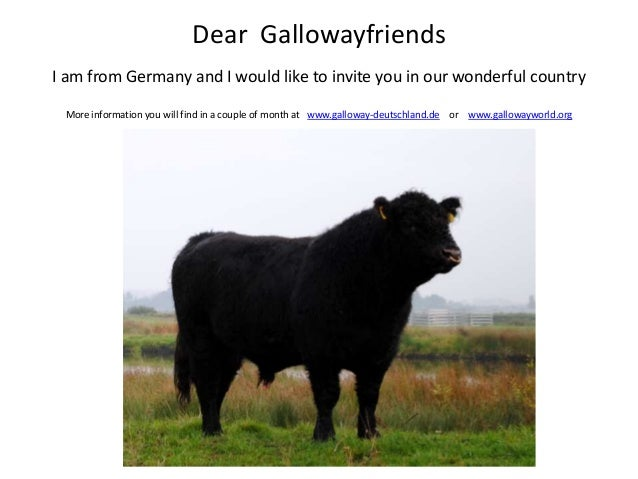 Dear GallowayfriendsI am from Germany and I would like to invite you in our wonderful country More information you will fi...