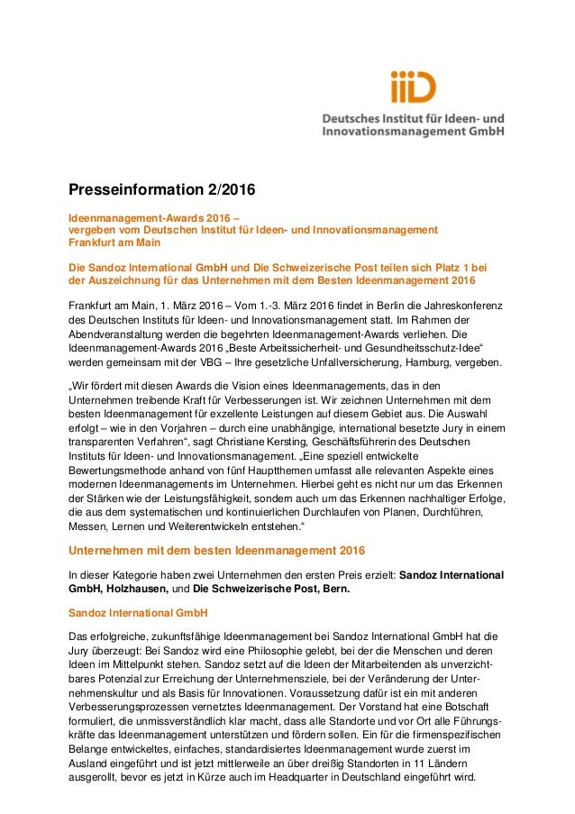 Presseinformation 2/2016 Ideenmanagement-Awards 2016 – vergeben vom Deutschen Institut für Ideen- und Innovationsmanagemen...