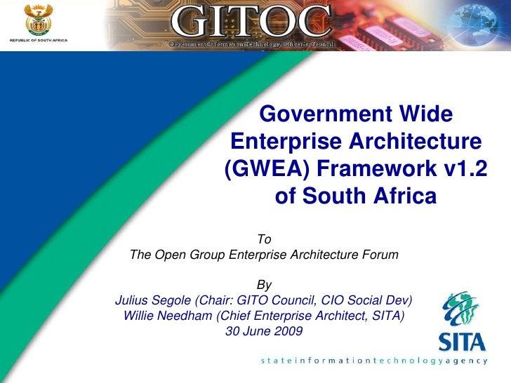 Government Wide                    Enterprise Architecture                   (GWEA) Framework v1.2                        ...