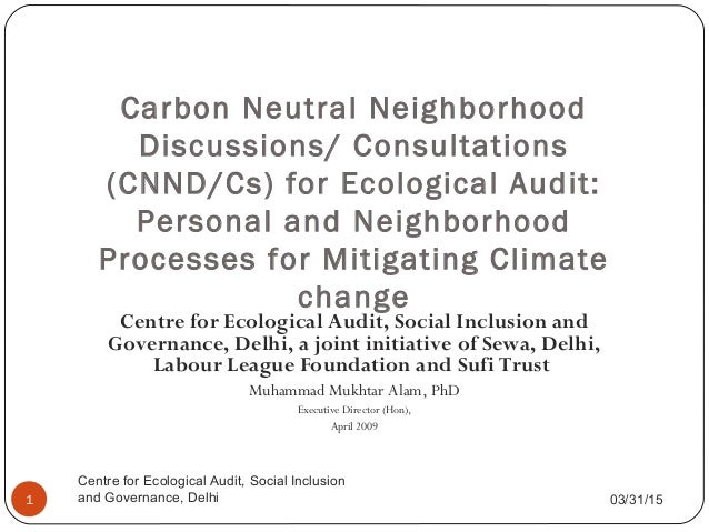 Carbon Neutral Neighbourhood Discussions/Consultations for Ecological Audit: Neighbourhood and Personal Processes for Personal and Social Wellbeing and Countering Climate Change