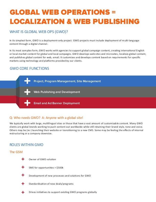 GLOBAL WEB OPERATIONS = LOCALIZATION & WEB PUBLISHING