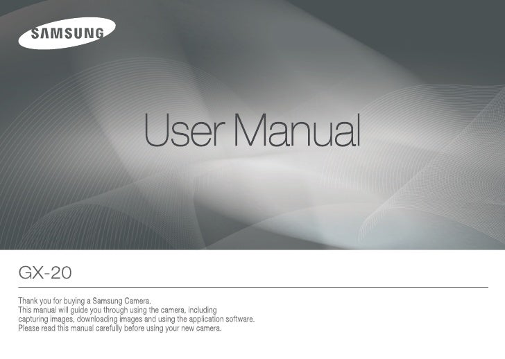 Samsung Camera GX-20 User Manual