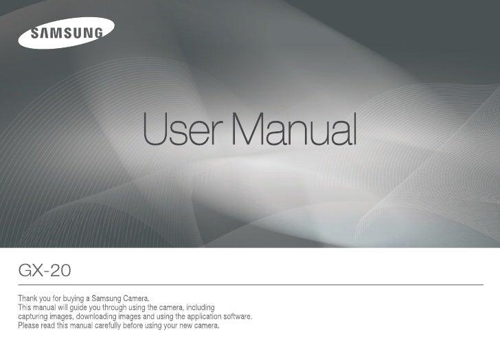 Samsung Camera GX-20 User Manual