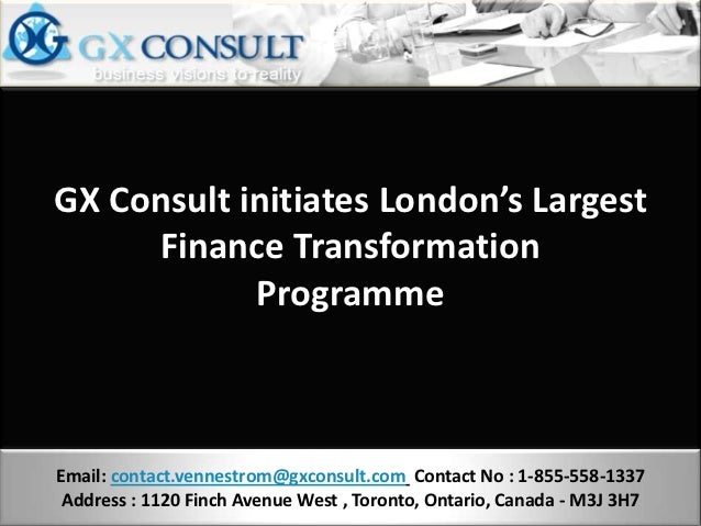 GX Consult initiates London's Largest     Finance Transformation            ProgrammeEmail: contact.vennestrom@gxconsult.c...