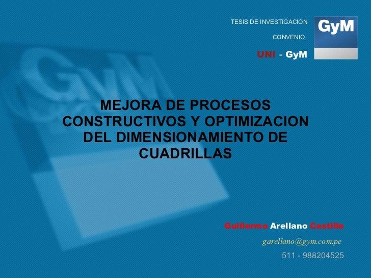 MEJORA DE PROCESOS CONSTRUCTIVOS Y OPTIMIZACION DEL DIMENSIONAMIENTO DE CUADRILLAS Guillermo   Arellano   Castillo [email_...