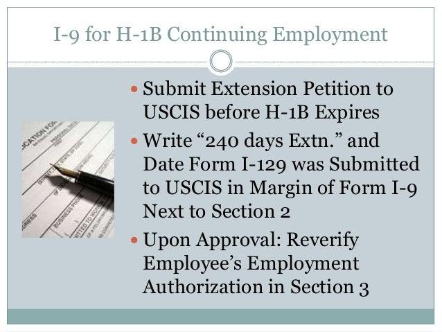 I-9 for H-1B Continuing H 1b Temporary