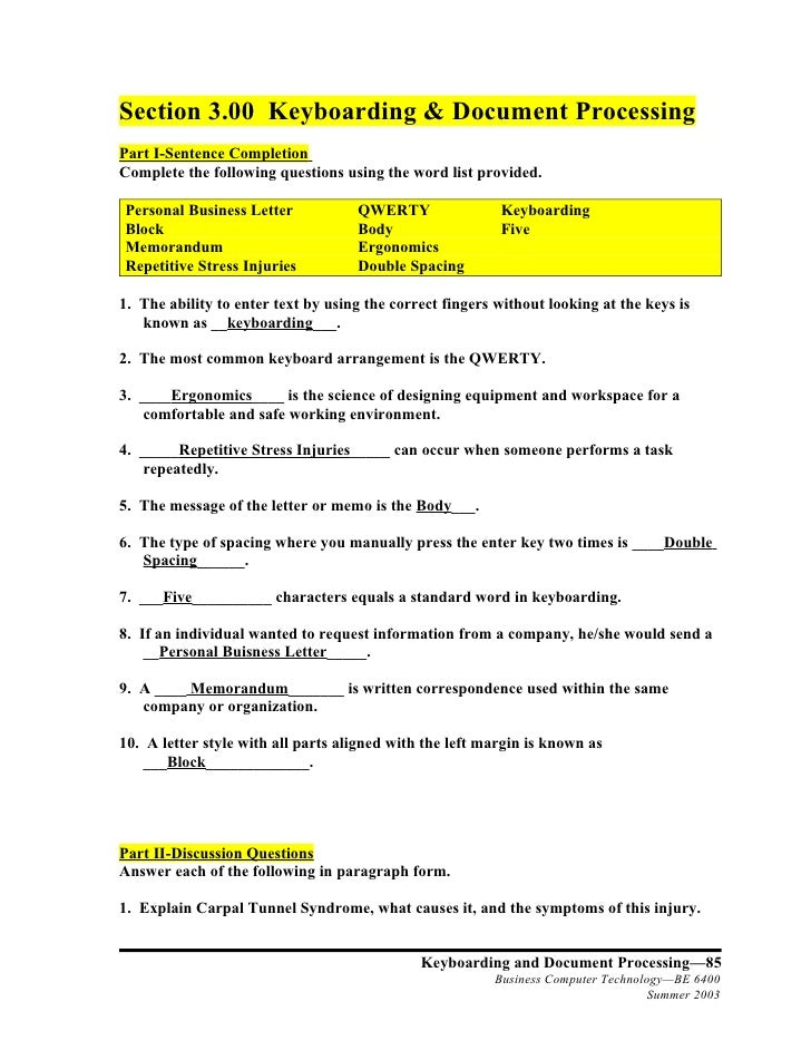 Section 3.00 Keyboarding & Document Processing Part I-Sentence Completion Complete the following questions using the word ...