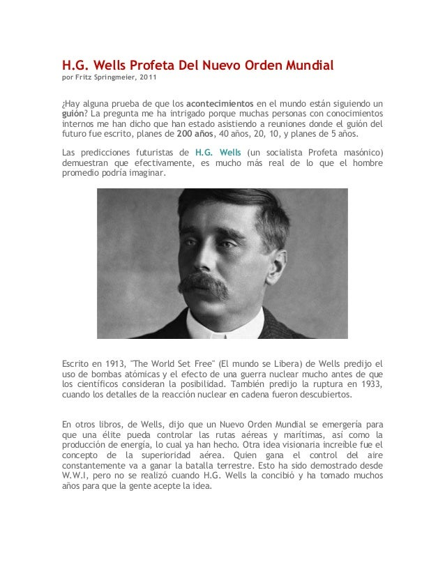 H.G. Wells profeta del NUEVO ORDEN MUNDIAL
