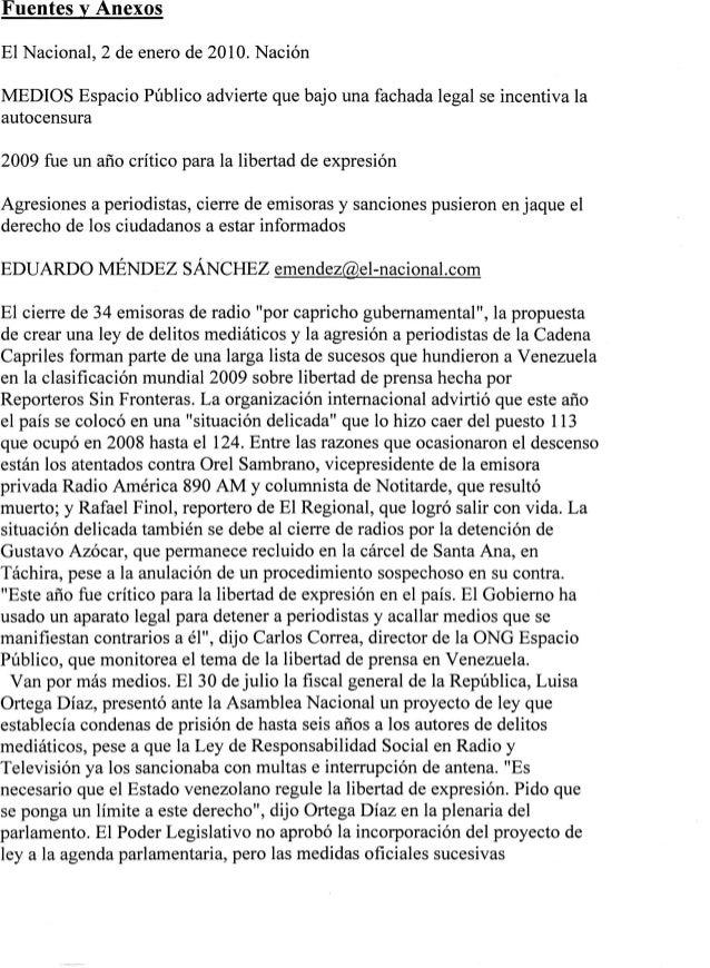 Fuentesv Anexos El Nacional,2deenerode 2010.Nación MEDIOS EspacioPúblicoadviertequebajounafachadalegalseincentivala autoce...
