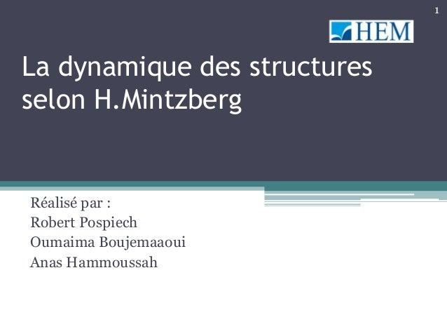 1La dynamique des structuresselon H.MintzbergRéalisé par :Robert PospiechOumaima BoujemaaouiAnas Hammoussah