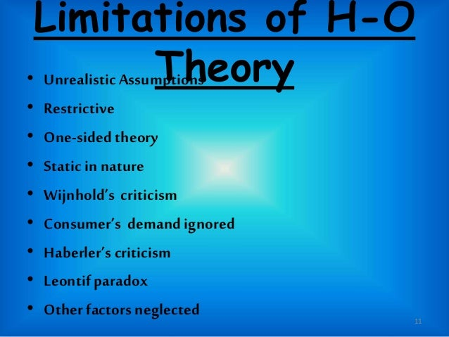 limitations of the hecksher ohlin theory Heckscher ohlin's (ho) modern theory of international trade, article posted by gaurav akrani on kalyan city life blog  limitations of heckscher ohlin's h-o theory .