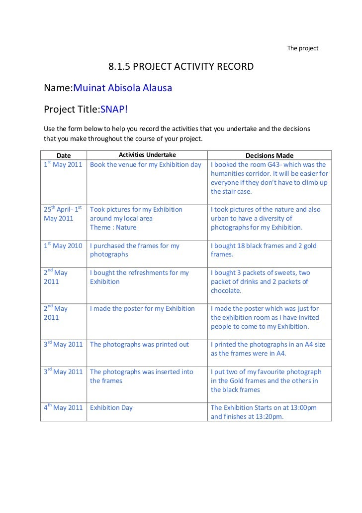 The project<br />8.1.5 PROJECT ACTIVITY RECORD<br />Name: Muinat Abisola Alausa<br />Project Title: SNAP!<br />Use the for...