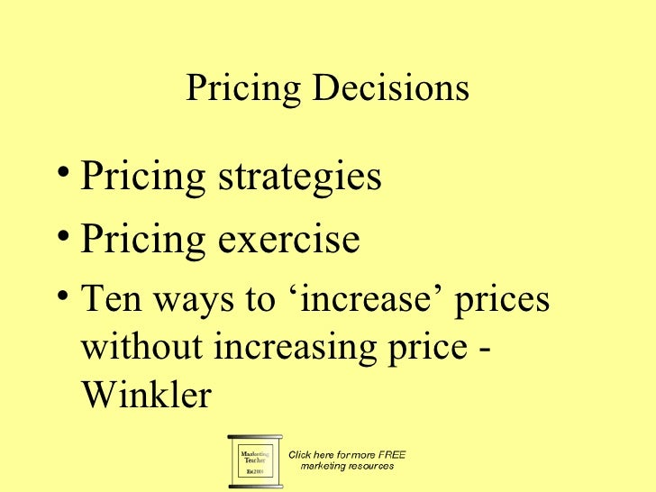 H.pricing decisions 8