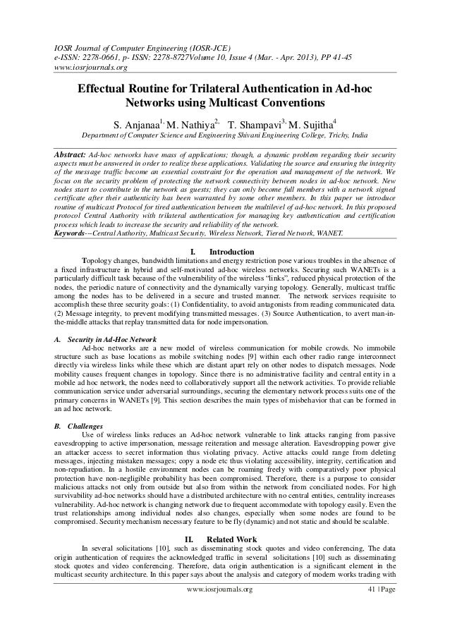 Effectual Routine for Trilateral Authentication in Ad-hoc Networks using Multicast Conventions