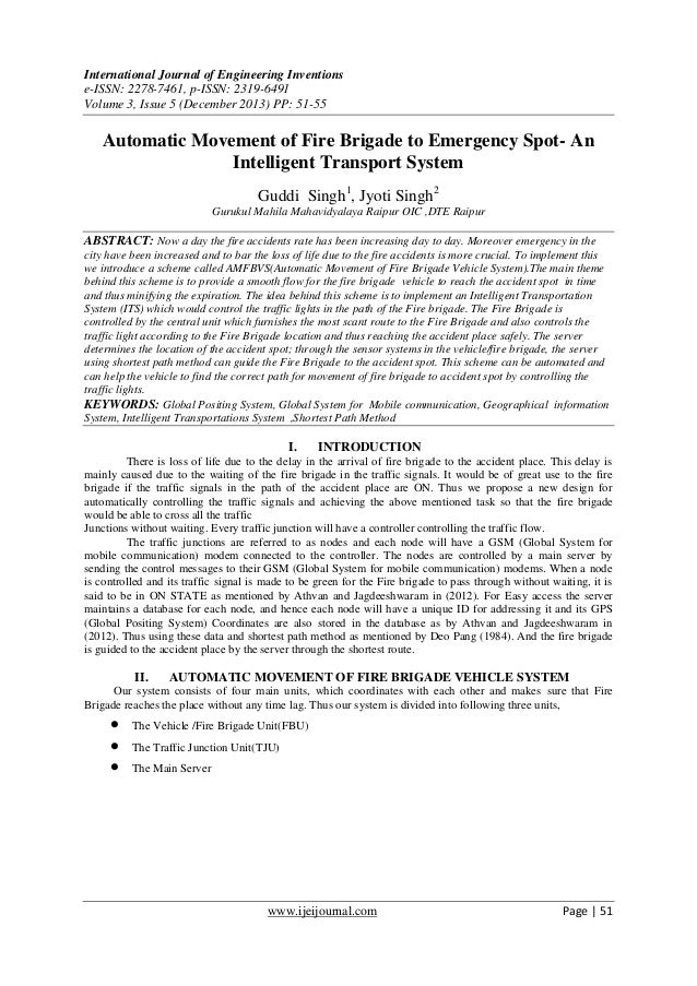 Automatic Movement of Fire Brigade to Emergency Spot- An  Intelligent Transport System