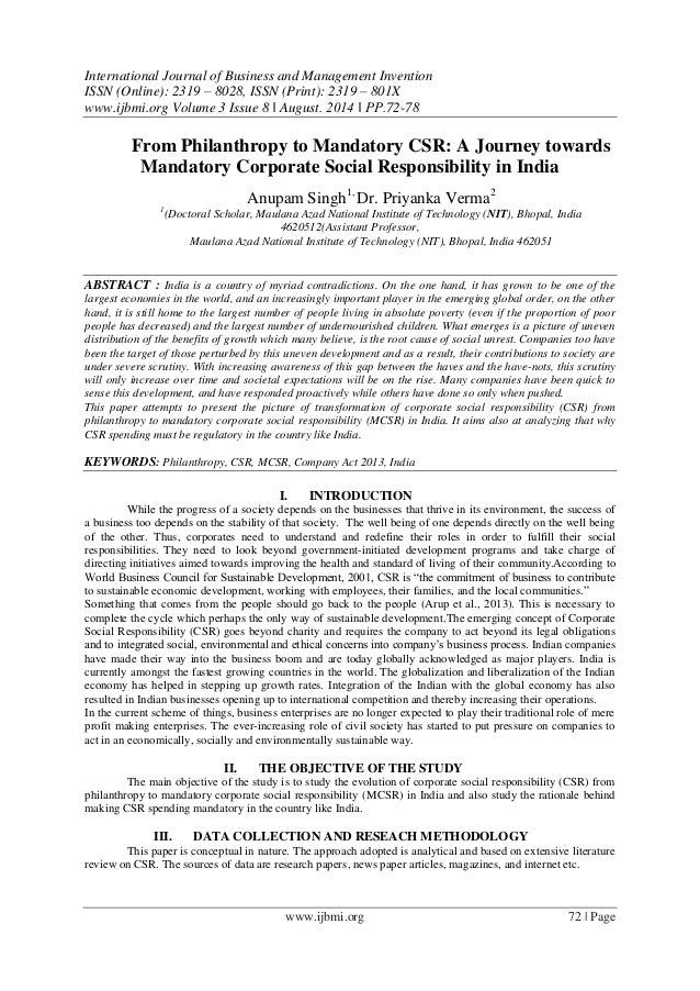 essay corporate social responsibility india
