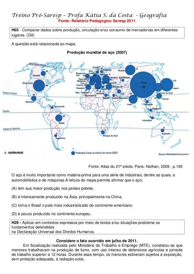 Treino Pró-Saresp – Profa Kátia S. da Costa - Geografia Fonte: Relatório Pedagógico Saresp 2011 H03 - Comparar dados sobre...