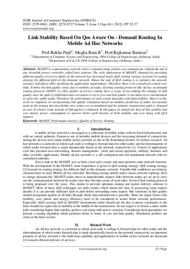 Link Stability Based On Qos Aware On - Demand Routing In  Mobile Ad Hoc Networks