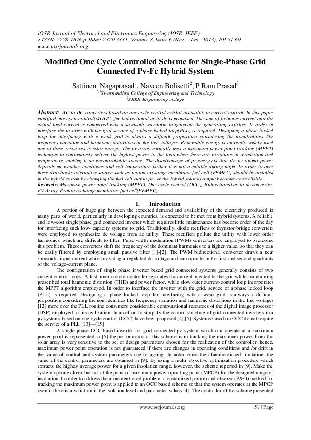 Modified One Cycle Controlled Scheme for Single-Phase Grid Connected Pv-Fc Hybrid System