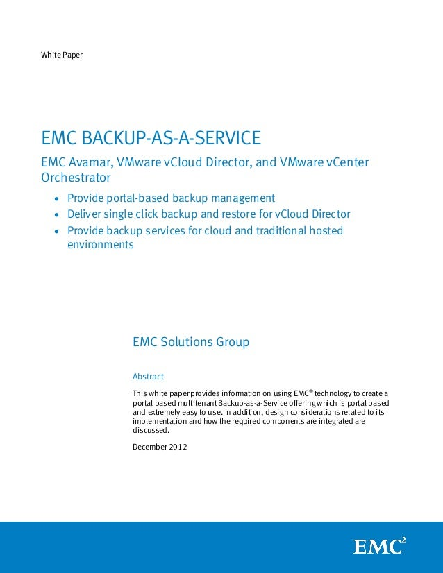 White Paper: EMC Backup-as-a-Service