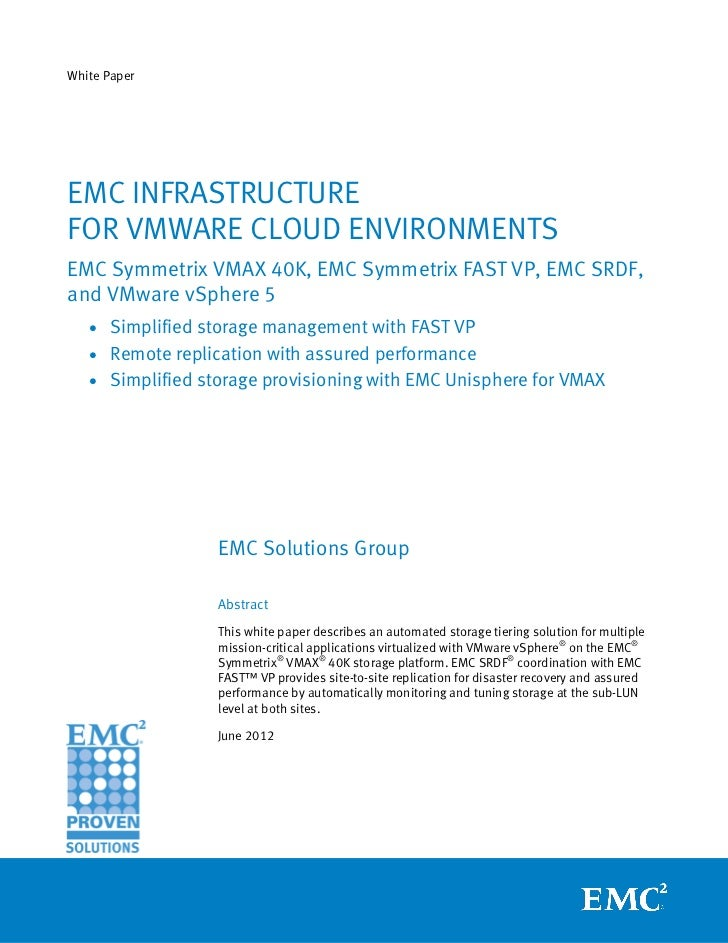White Paper: EMC Infrastructure for VMware Cloud Environments