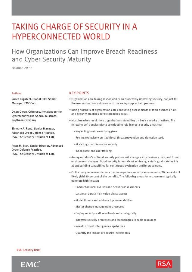 TAKING CHARGE OF SECURITY IN A HYPERCONNECTED WORLD How Organizations Can Improve Breach Readiness and Cyber Security Matu...