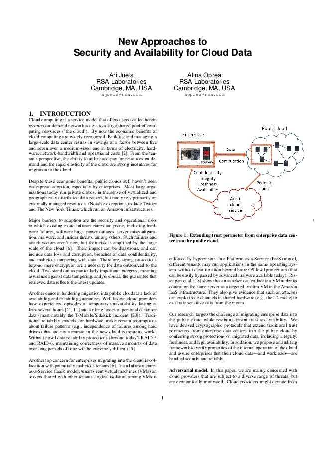 New Approaches to Security and Availability for Cloud Data