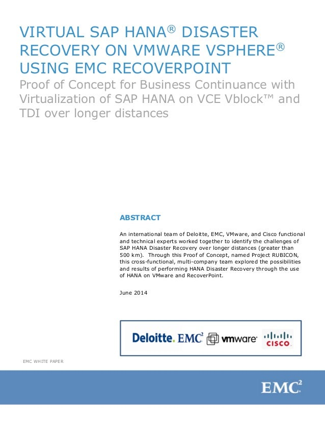 VIRTUAL SAP HANA® DISASTER RECOVERY ON VMWARE VSPHERE® USING EMC RECOVERPOINT Proof of Concept for Business Continuance wi...