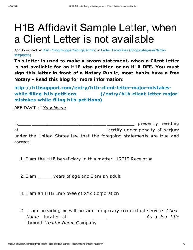H1 B Affidavit Sample Letter When A Client Letter Is Not