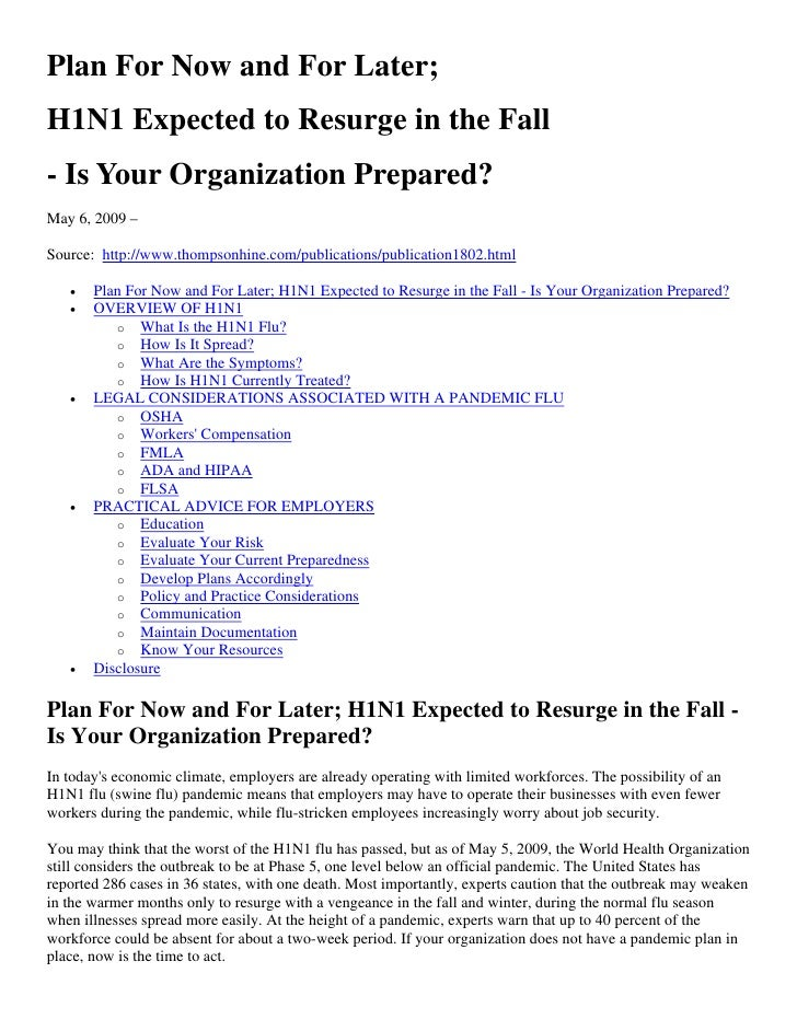 H1 N1 Fall 2009 Employer Guidance