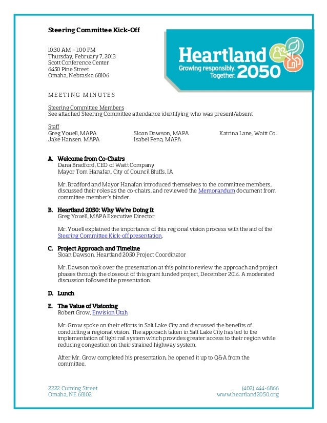 Steering Committee Kick-Off 10:30 AM – 1:00 PM Thursday, February 7, 2013 Scott Conference Center 6450 Pine Street Omaha, ...