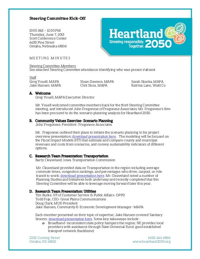 Steering Committee Kick-Off 10:00 AM – 12:00 PM Thursday, June 7, 2013 Scott Conference Center 6450 Pine Street Omaha, Neb...