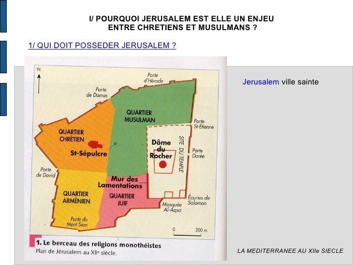 LA MEDITERRANEE AU XIIe SIECLE I/ POURQUOI JERUSALEM EST ELLE UN ENJEU  ENTRE CHRETIENS ET MUSULMANS ? 1/  QUI DOIT POSSED...