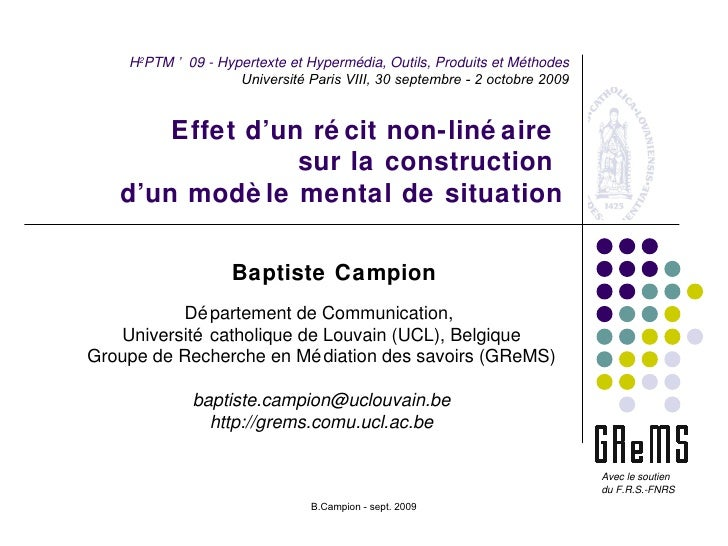 Effet d'un récit non-linéaire  sur la construction  d'un modèle mental de situation Baptiste Campion Département de Commun...