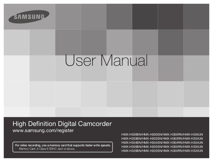 user manualHigh Definition Digital Camcorderwww.samsung.com/register                                                      ...