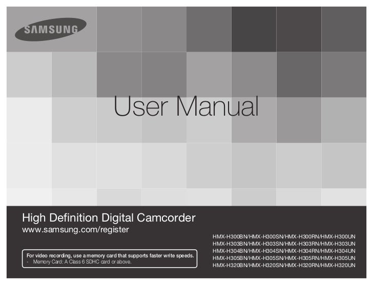 High Definition Digital Camcorder Samsung H300 User Manual