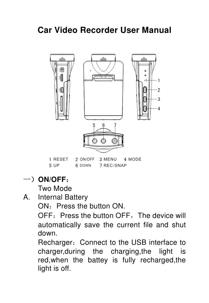 Car Video Recorder User Manual一)ON/OFF:   Two ModeA. Internal Battery   ON:Press the button ON.   OFF:Press the button OFF...