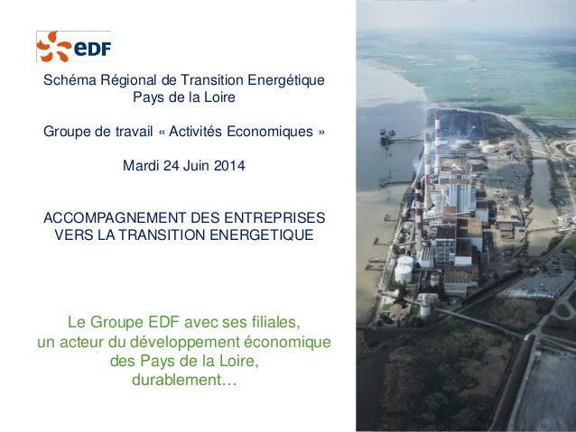 Le Groupe EDF avec ses filiales,  un acteur du développement économique  des Pays de la Loire,  durablement…  Schéma Régio...