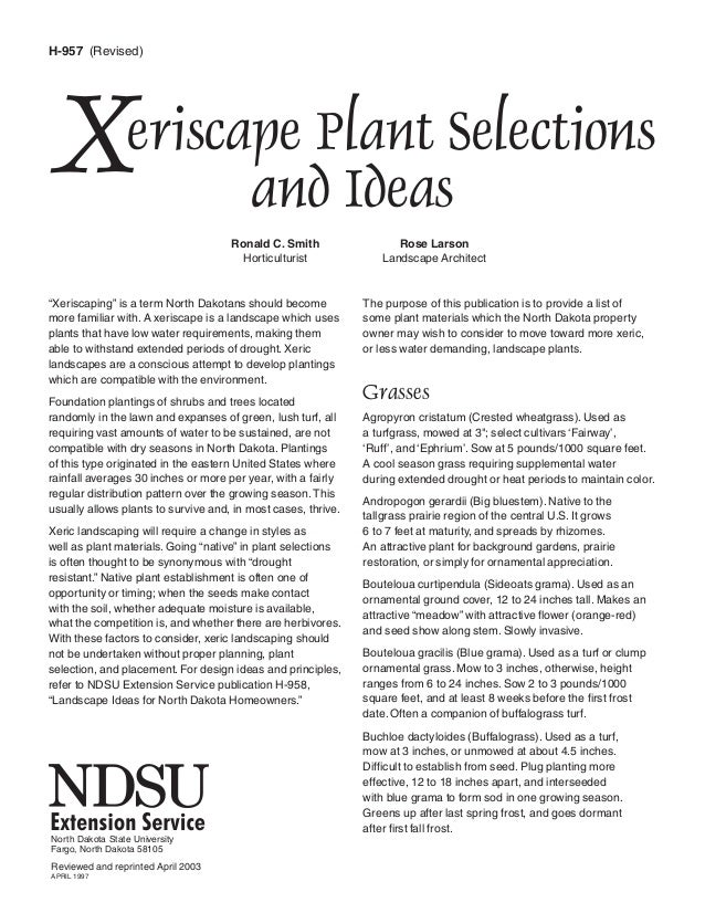 H-957 (Revised)X                 eriscape Plant Selections                        and Ideas                               ...