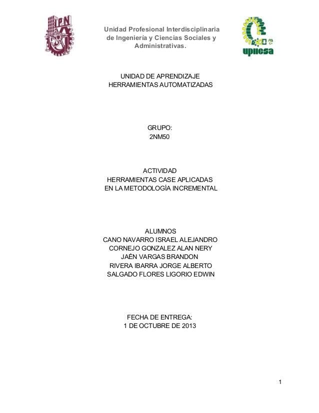 UnidadProfesionalInterdisciplinaria deIngenieríayCienciasSocialesy Administrativas.  UNIDADDEAPRENDIZAJE HERRAMIE...