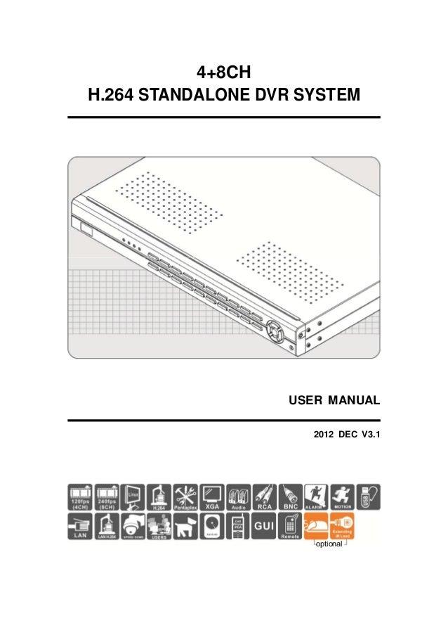 4+8CH H.264 STANDALONE DVR SYSTEM  USER MANUAL 2012 DEC V3.1  optional