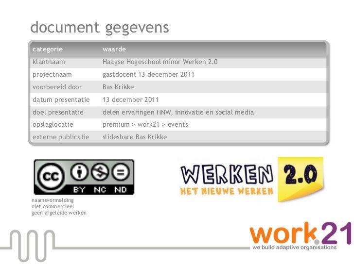 Haagse hogeschool minor werken 20 gastdocent bas krikke 13 12-2011 slideshare