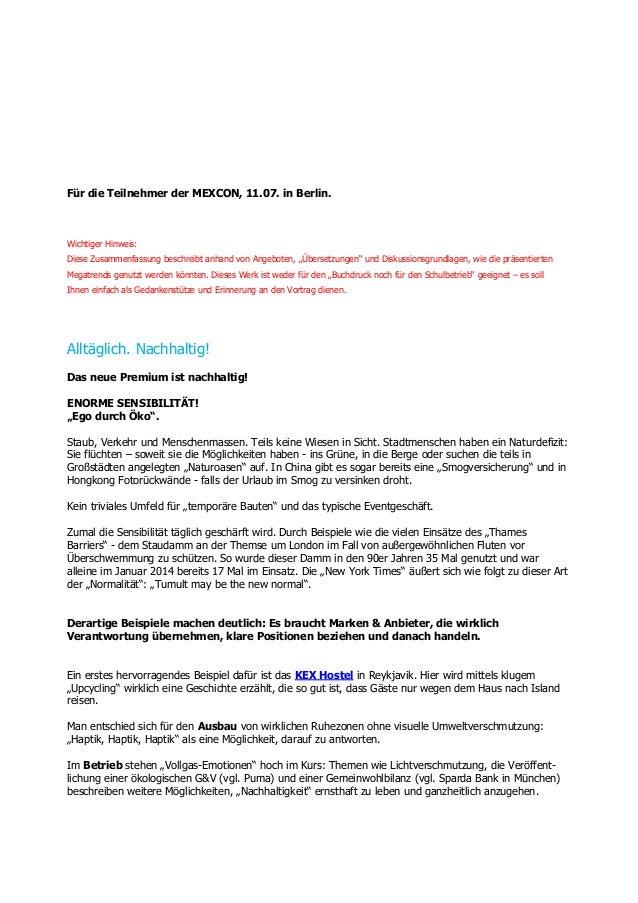 Für die Teilnehmer der MEXCON, 11.07. in Berlin. Wichtiger Hinweis: Diese Zusammenfassung beschreibt anhand von Angeboten,...