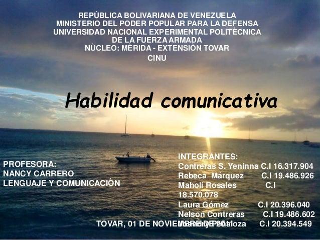 REPÙBLICA BOLIVARIANA DE VENEZUELA  MINISTERIO DEL PODER POPULAR PARA LA DEFENSA  UNIVERSIDAD NACIONAL EXPERIMENTAL POLITÈ...