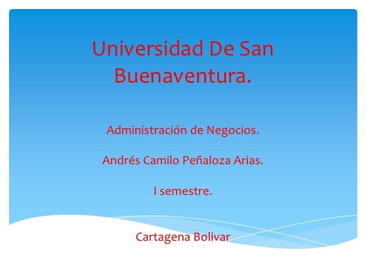 Universidad De San  Buenaventura. Administración de Negocios. Andrés Camilo Peñaloza Arias.          I semestre.      Cart...