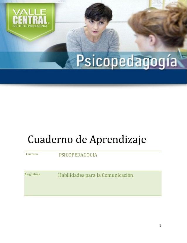 1 Cuaderno de Aprendizaje Carrera PSICOPEDAGOGIA Asignatura Habilidades para la Comunicación