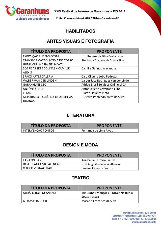 XXIV Festival de Inverno de Garanhuns – FIG 2014 Edital Convocatório nº 005 / 2014 – Garanhuns-PE HABILITADOS ARTES VISUAI...