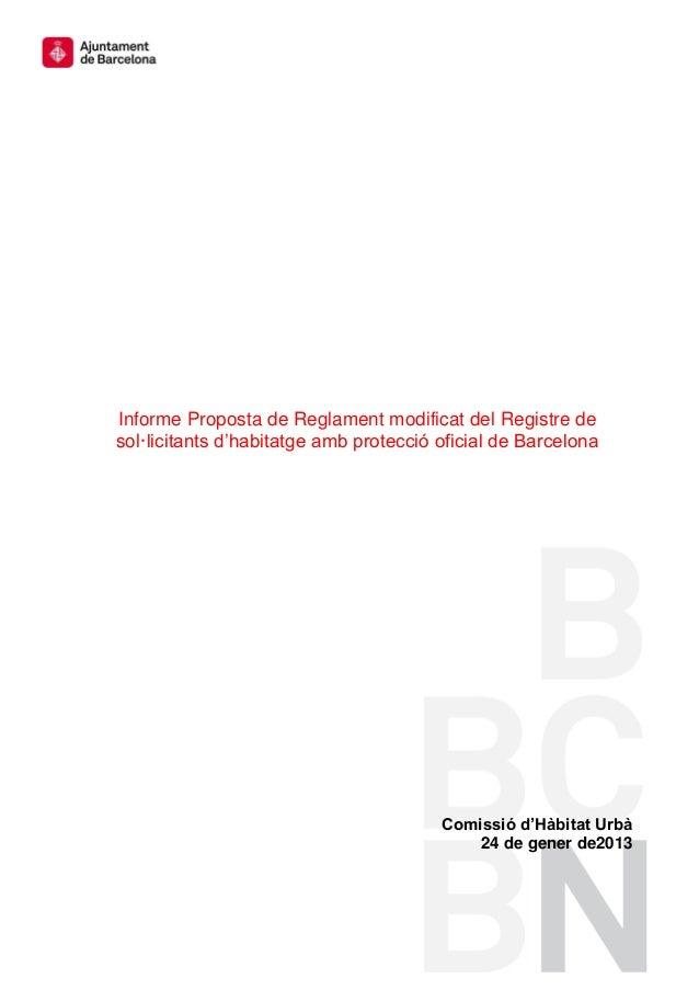 Proposta de Reglament modificat del Registre de sol•licitants d'habitatge amb protecció oficial