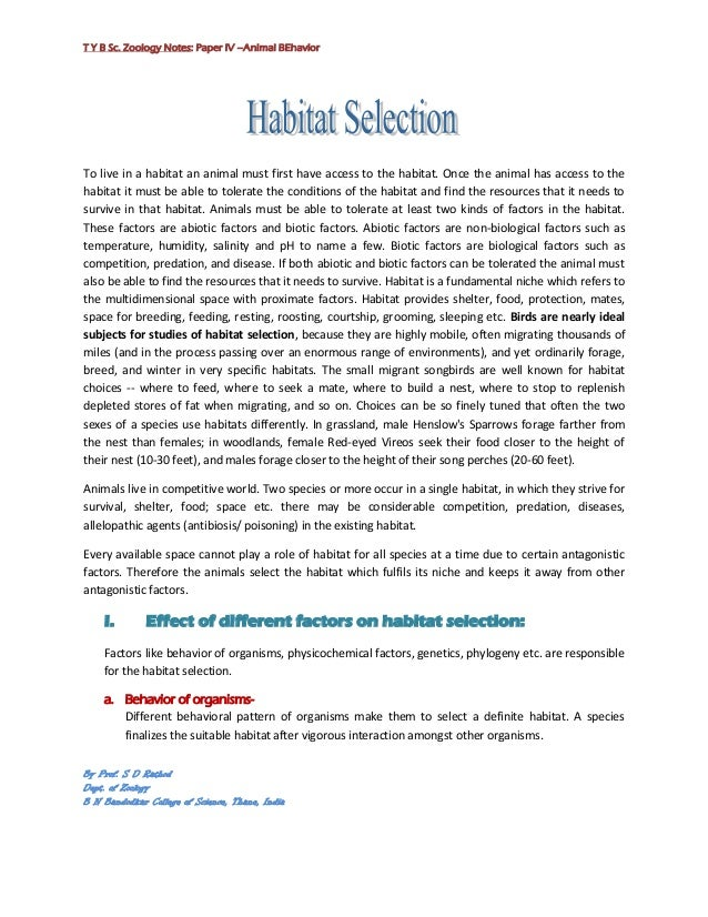 T Y B Sc. Zoology Notes: Paper IV –Animal BEhaviorTo live in a habitat an animal must first have access to the habitat. On...